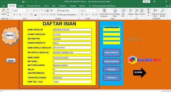 Halam Depan Aplikasi Pembuat Prota Promes KKM Format Excel