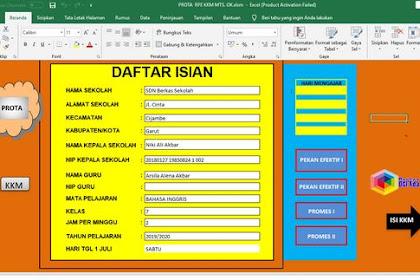 Aplikasi Pembuat Prota Promes KKM Format Excel