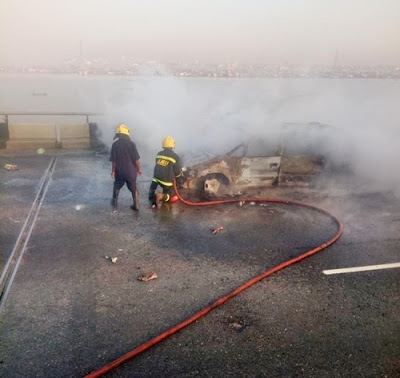 Vehicle Goes Up In Flames On Lagos 3rd Mainland Bridge (Pics)