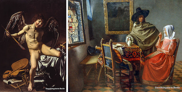 """""""Cupido Vencedor"""", de Caravaggio, e """"O Copo de Vinho"""", de Vermeer, na Gemäldegalerie"""