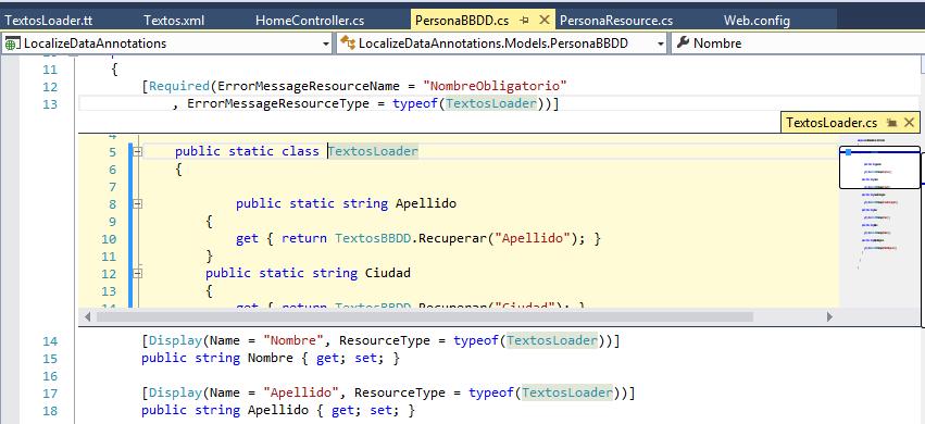 Clase generada a partir de la plantilla T4 C#