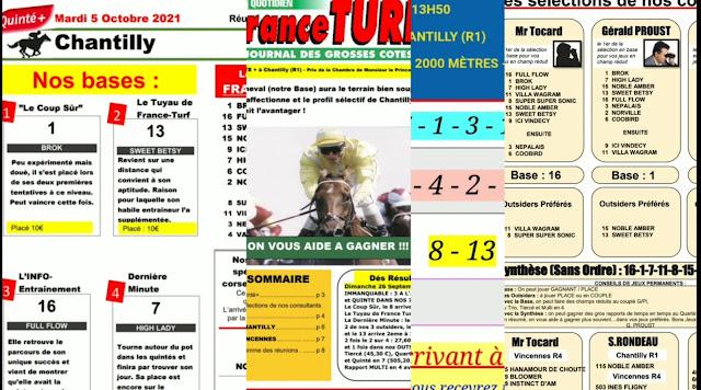 Pronostic quinté+ pmu Mardi Paris-Turf TV-100 % 05/10/2021