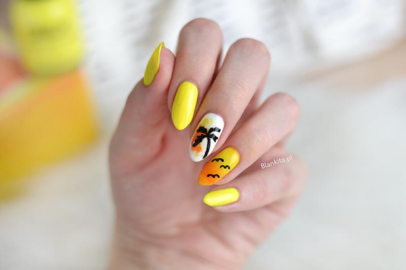 paznokcie na lato, paznokcie w palmy, palma na paznokciu, palma drzewko, jak namalowac palme, zolty lakier do paznokci, zolte paznokcie, orly road trippin