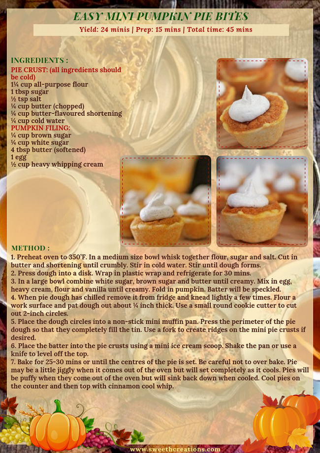 EASY MINI PUMPKIN PIE BITES RECIPE