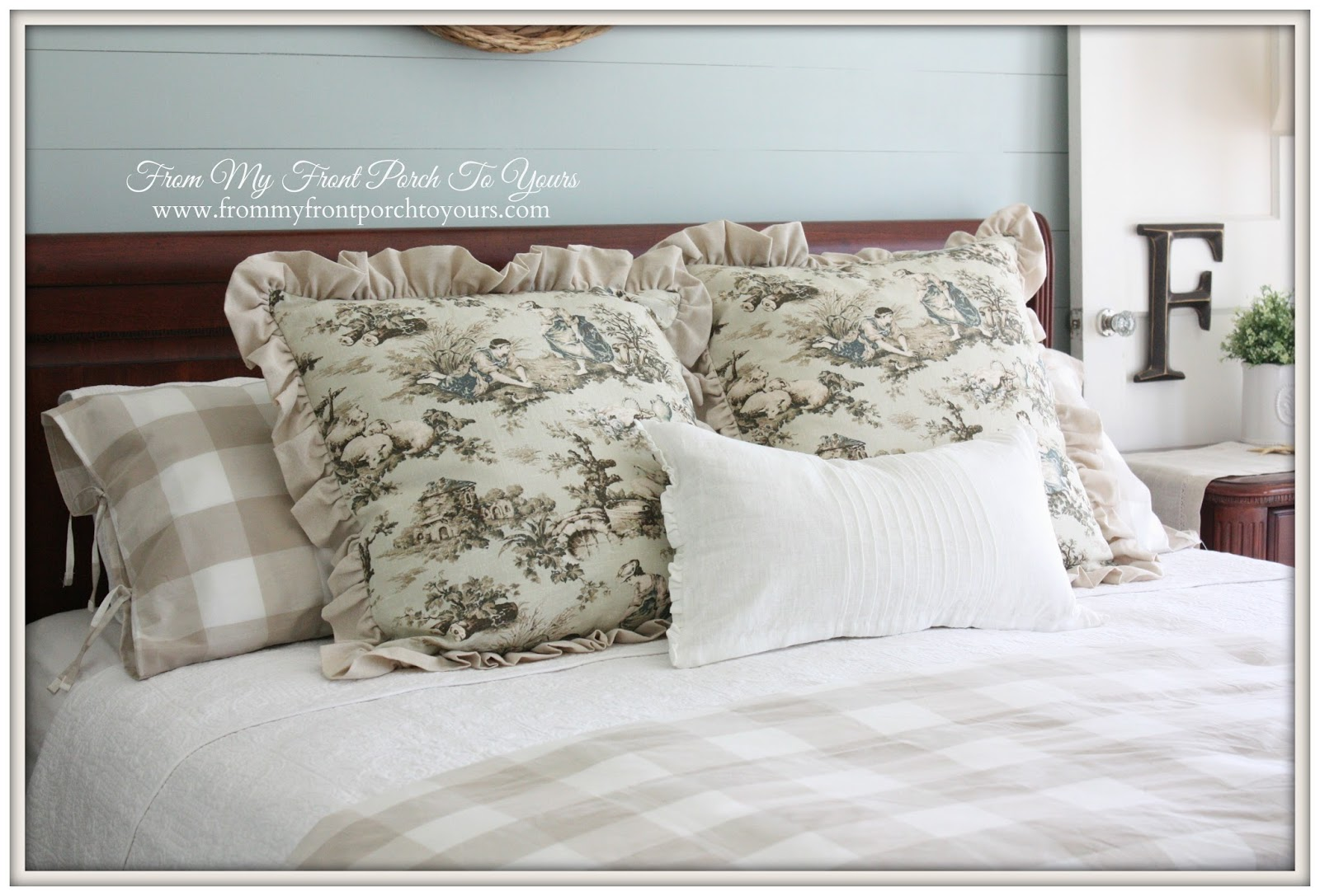 Toile Euro Shams-French Farmhouse Bedroom-How I Found My Style Sundays- From My Front Porch To Yours