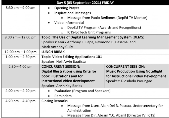 DAY 5 SESSION   SECOND DEPED VIRTUAL INSET   TOPICS & SPEAKERS   SEPTEMBER 3, 2021