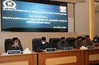LKPJ Akhir Tahun Anggaran 2019 Disampaikan Pada Rapat Paripurna DPRD Kab. Sukabumi