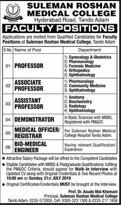 Jobs In Suleman Roshan Medical College in Karachi 2019