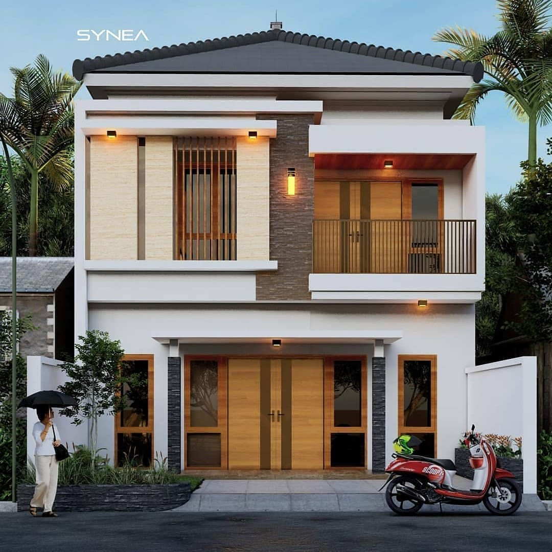Inspirasi Desain Rumah 2 Lantai Minimalis Modern Dan Elegan Tampak Depan Ndekorrumah Model depan rumah tingkat