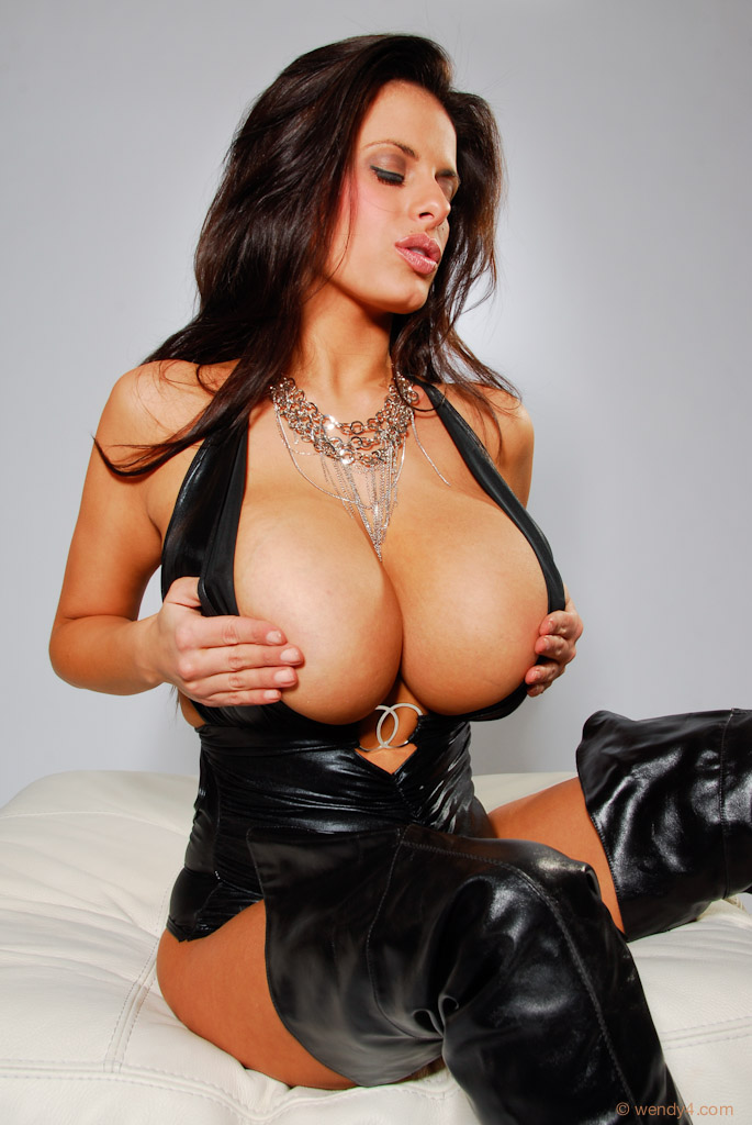 Big tits leather