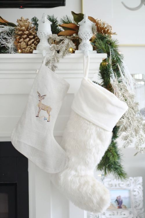 white and natural Christmas mantel decoration