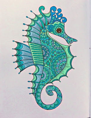 Completed sea horse coloring page
