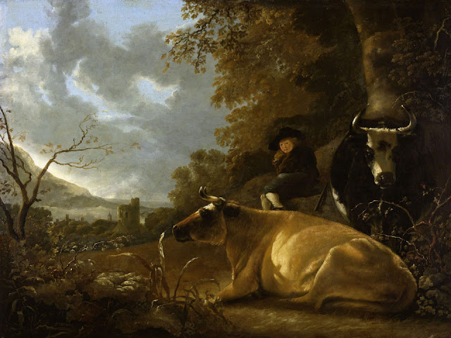 Альберт Кёйп - Пейзаж с пастушком и коровами. 1650-70