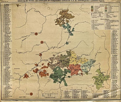 Biserica Evanghelică în Universitatea Săsească şi în Transilvania la 1904 ( o hartă realizată în epocă de Paul Langhans)