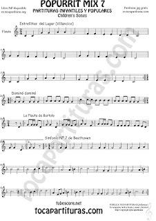 Mix 7 Partitura de Flauta Travesera, flauta dulce y flauta de pico Campanitas del Lugar Dominó La Flauta de Bartolo Sinfonía Nº 7 Beethoven Popurrí Mix 7 Sheet Music for Flute and Recorder Music Score