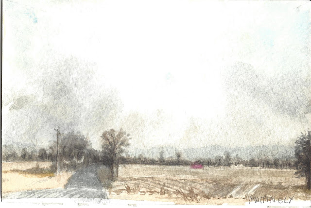 Watercolor of road, fields, and bare trees under a blustery sky