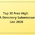 Top  30  Free  High  DA  Directory  Submission  List  2020