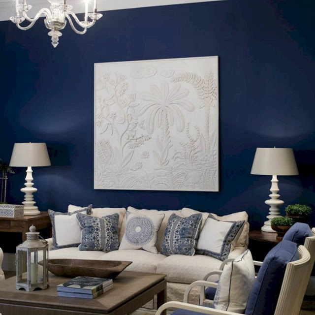 Cat Ruang Tamu Warna Biru Tua