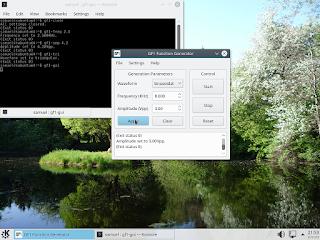 Interface gráfica para controlar o gerador de funções. Foram invocados alguns comandos no terminal.