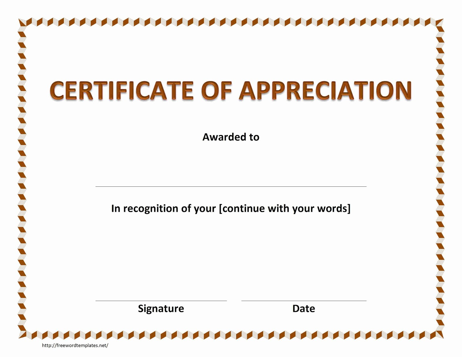 Certificate Of Appreciation Template For Word  Military Certificate Of Appreciation Template
