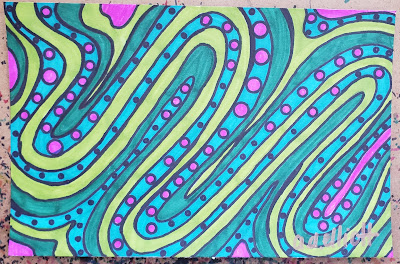 A pen and ink doodle meditation in pinks and greens and a blurb about things that are free.