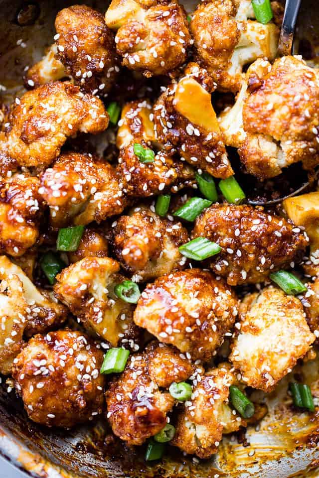 Sticky Sesame Cauliflower Bites #cauliflower #dinner #healthyrecipes #food #easy