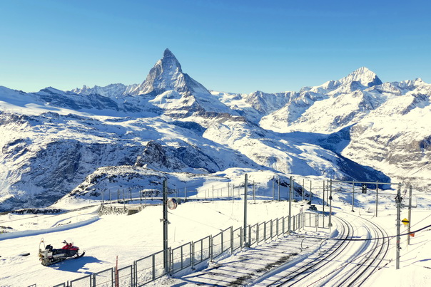 Gornergrat, Matterhorn, Zermatt, Gornergratbahn, Schienen, Berge