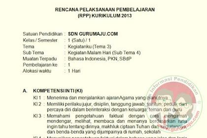 RPP Kelas 1 Tema 3 Semester 1 Kurikulujm 2013 Revisi Tahun 2019