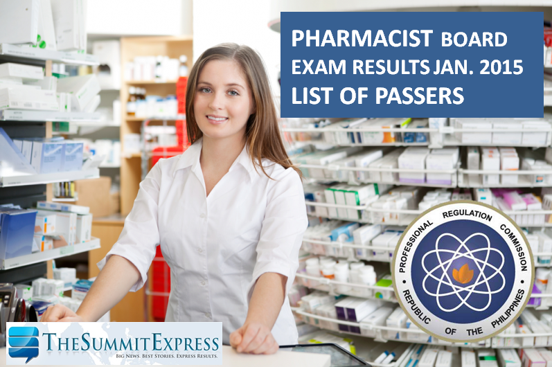 List of Passers: Pharmacist board exam results January 2015