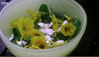 Bucket of salad and edible flowers