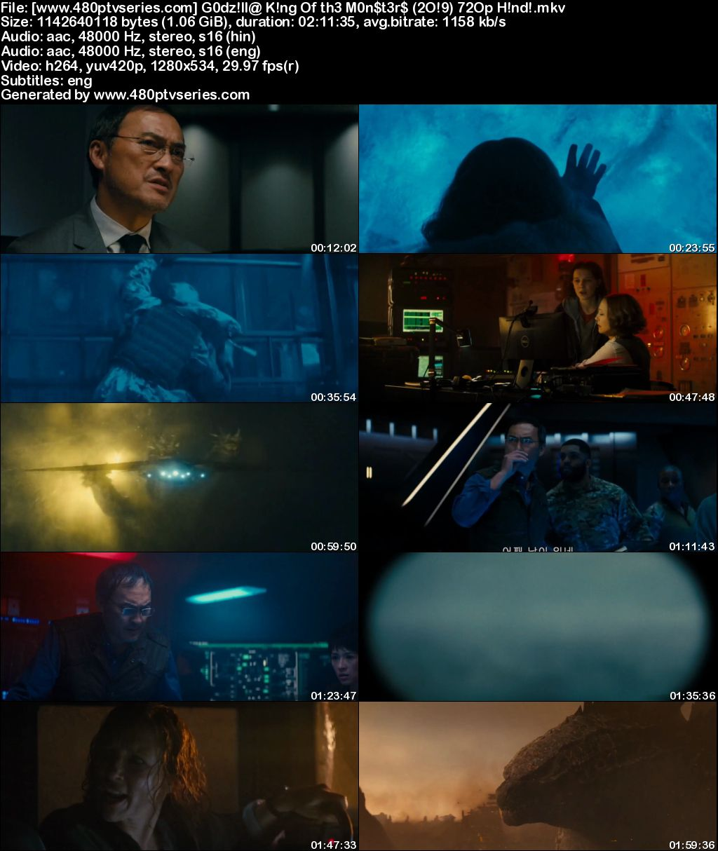 Watch Online Free Godzilla: King of the Monsters (2019) Full Movie [ Hindi + English ] 480p 720p Dual Audio HDRip (HC)