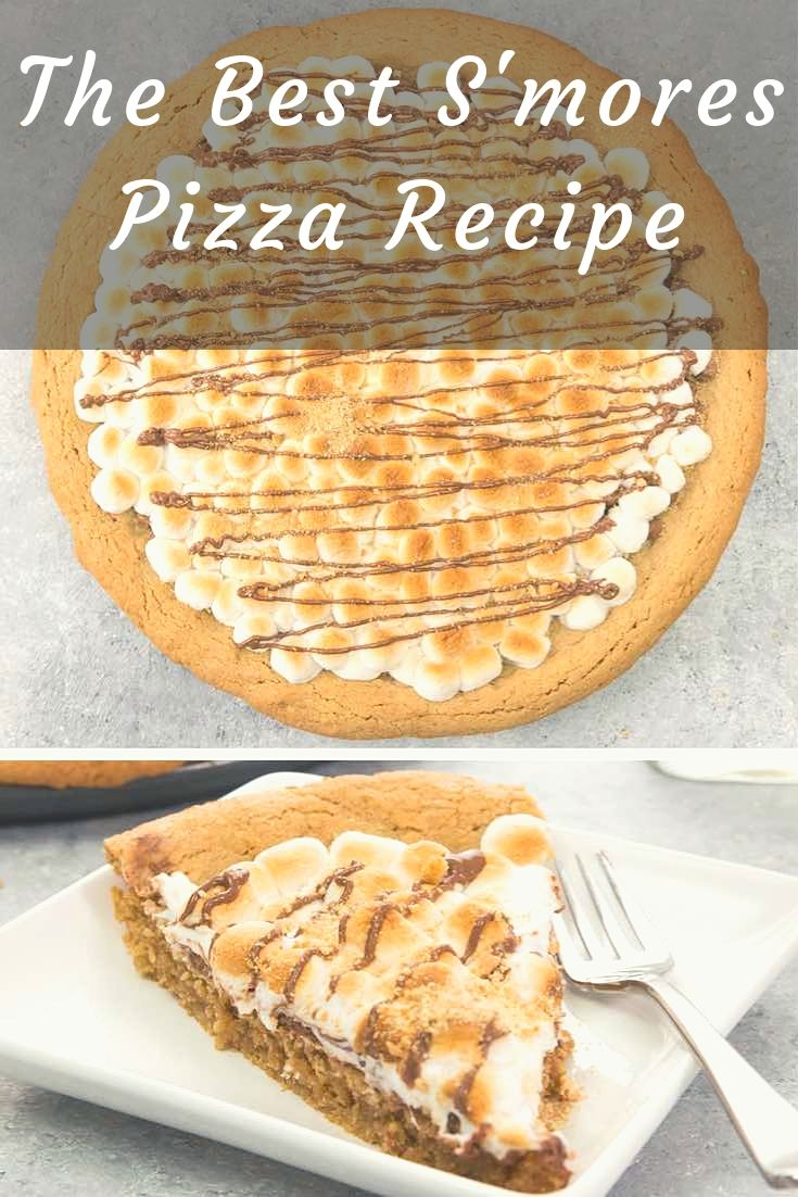 Soft & Gooey Loaded S'mores Pizza or S'mores Pie - flavored with crushed graham crackers cookie dough, and layered with marshmallow and sweet chocolate chips. Who needs a campfire? Bake this indoor rich, gooey S'mores cake instead! Loads of s'mores in every bite! So good! Quick and easy recipe.