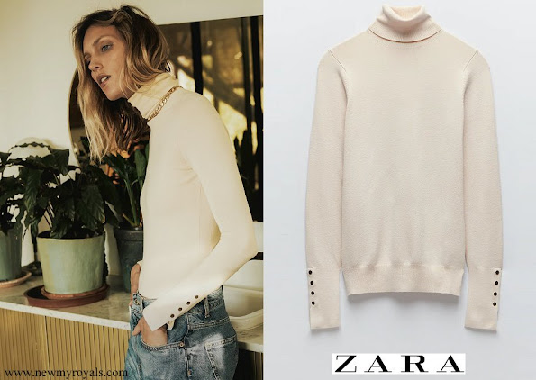 Crown Princess Mary wore Zara Turtleneck sweater with long sleeves with false metal button trim