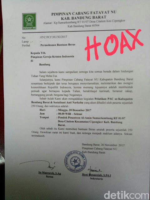 Viral Surat Minta Beras ke Gereja, Fatayat NU Bandung Barat: Itu Hoax