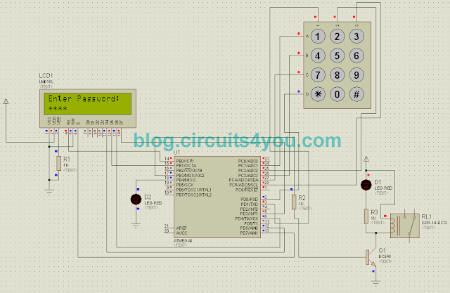 Passward based security system circuit diagram
