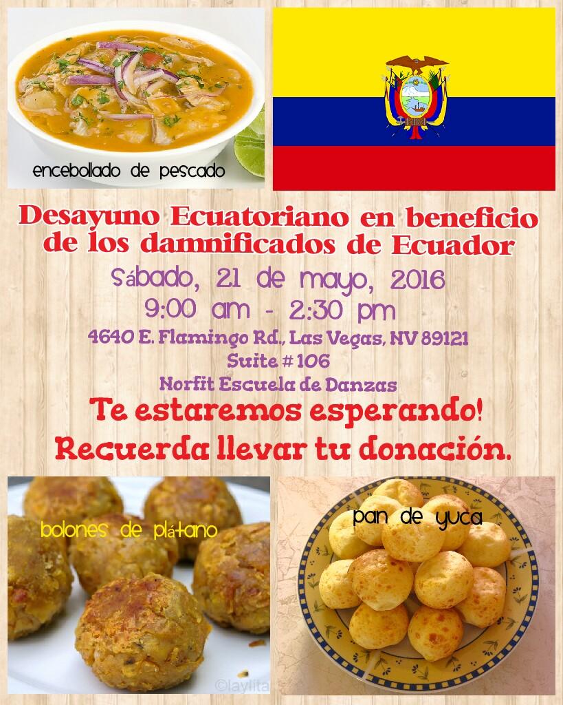 desayuno ecuatoriano en las vegas en beneficio de los damnificados de ecuador