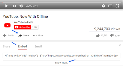 embed youtube video to blogger