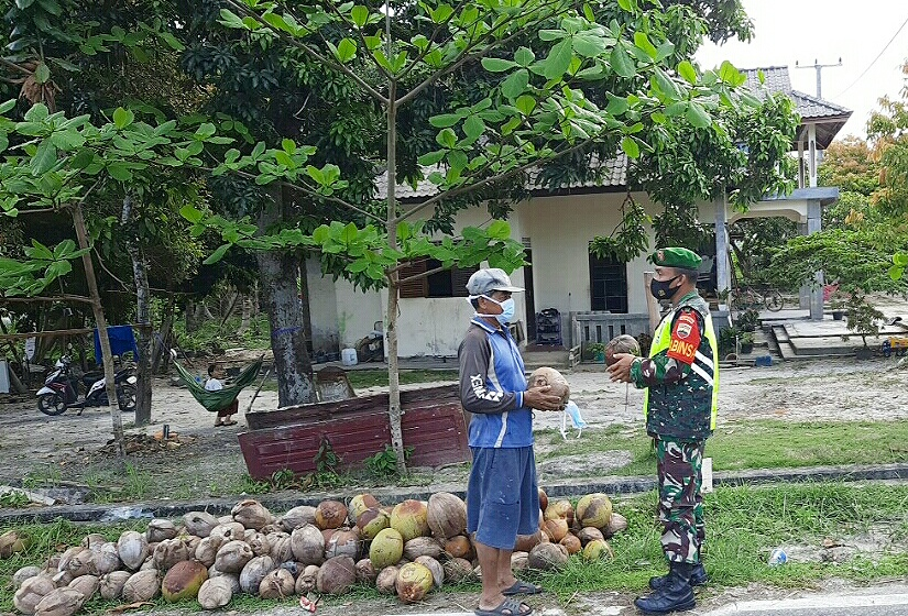Babinsa Desa Cemaga Utara Lakukan Komsos Dengan Petani Kelapa