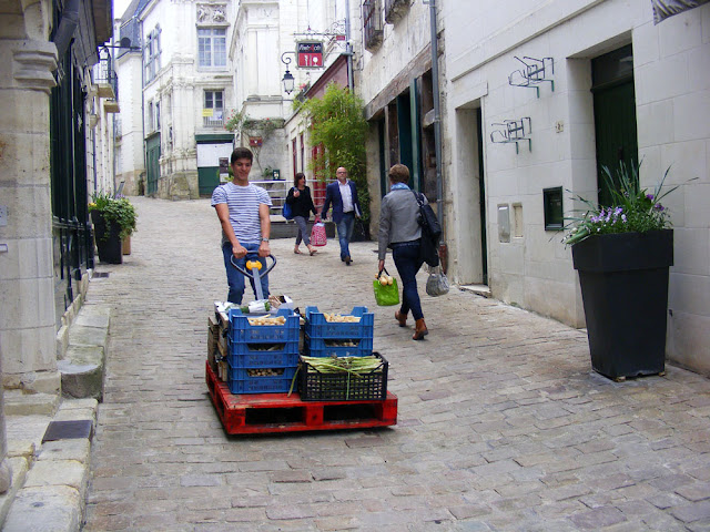 Fresh vegetables from the market being delivered to a restaurant, Indre et Loire, France. Photo by Loire Valley Time Travel.