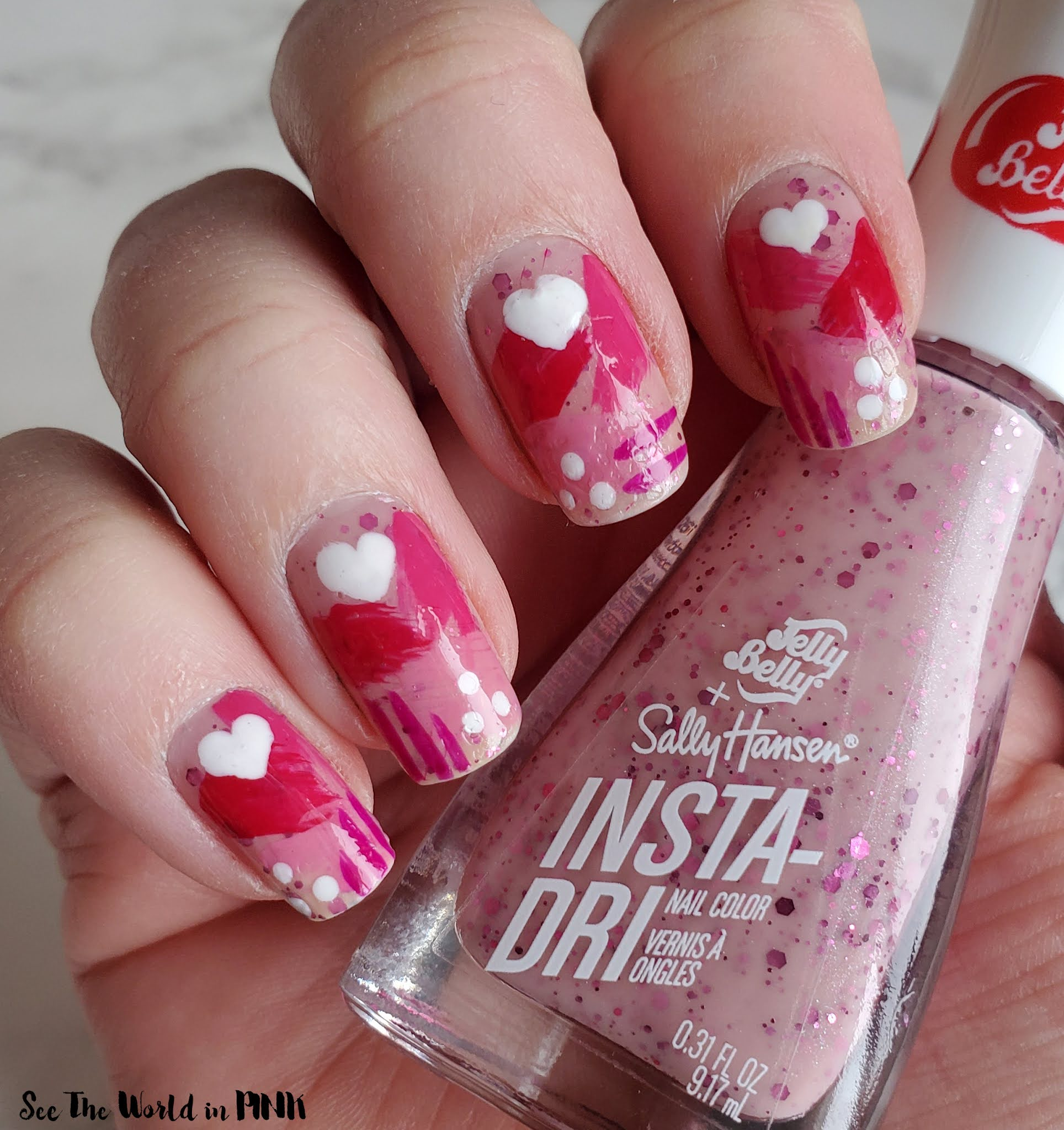 Manicure Monday - Abstract Pink Heart Nails
