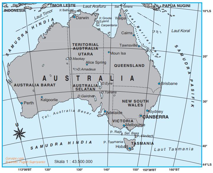 Gambar benua australia - peta benua australia