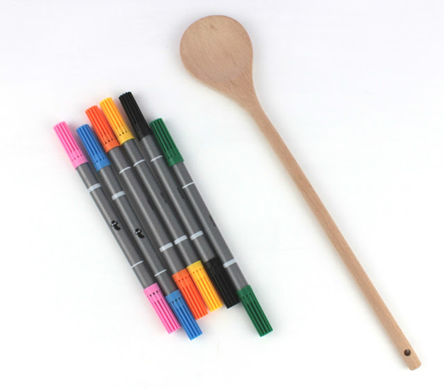 wooden spoon and colors
