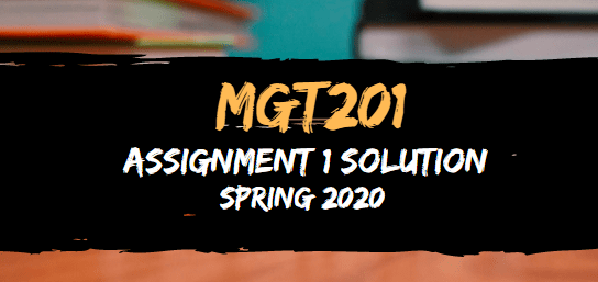 MGT201 Assignment 1 Solution Spring2020