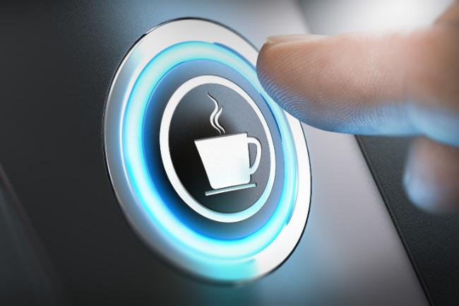 Pressione este botão para obter um café fresquinho