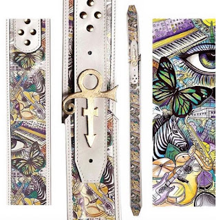 Heavy Leather Guitar Strap with art illustration by Spencer J. Derry