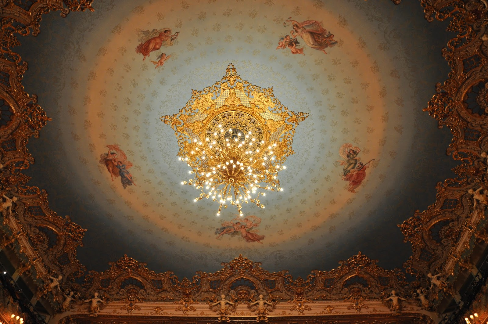 The chandelier and the ceiling in the theatre hall, La Fenice, Venice, Italy