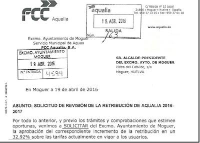 Aqualia solicita subida del agua en Moguer