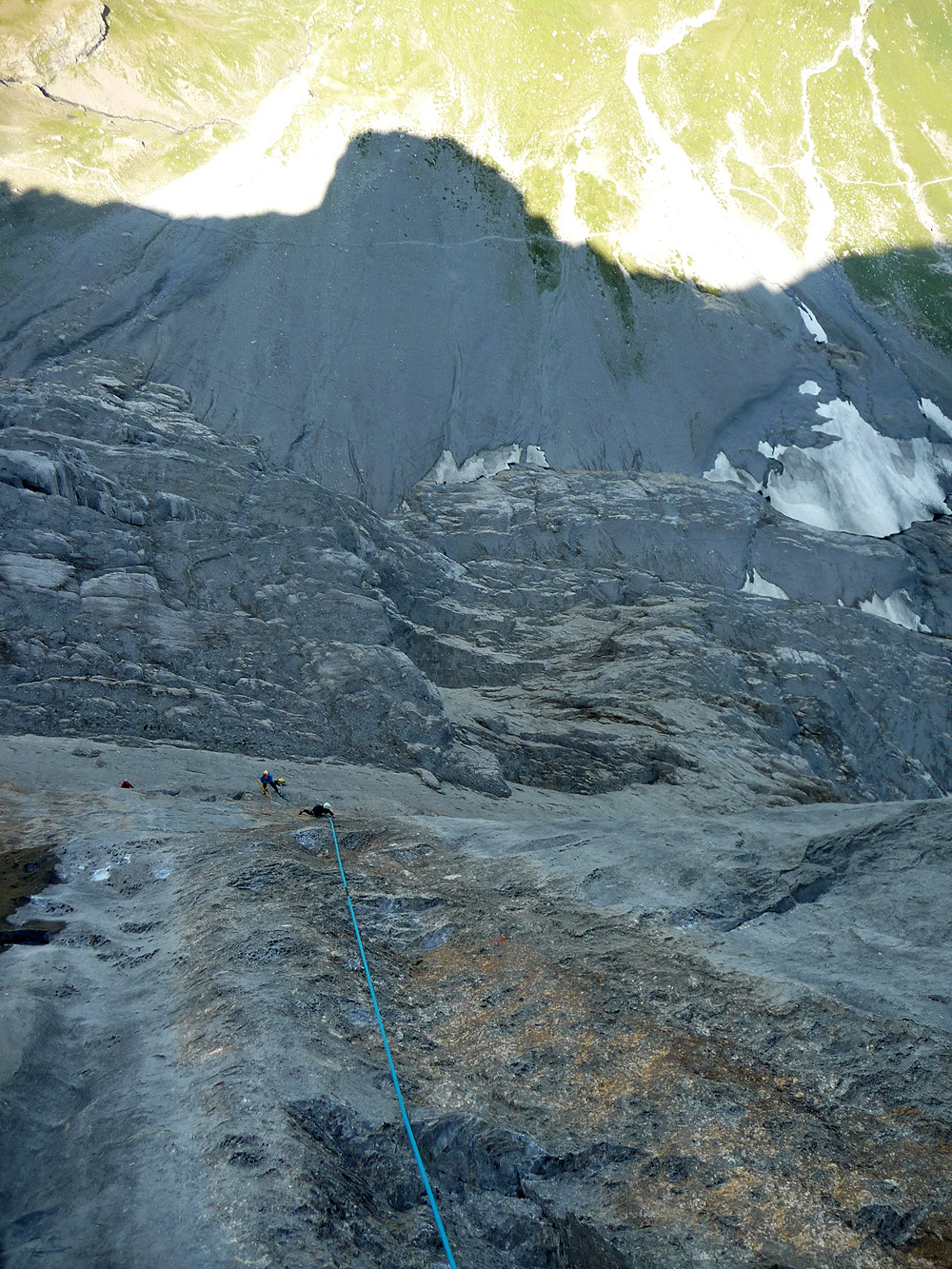 Pitch 5 - 7a+ - the shade of the Geneva Pillar is obvious & Eiger \u2013 Deep Blue Sea
