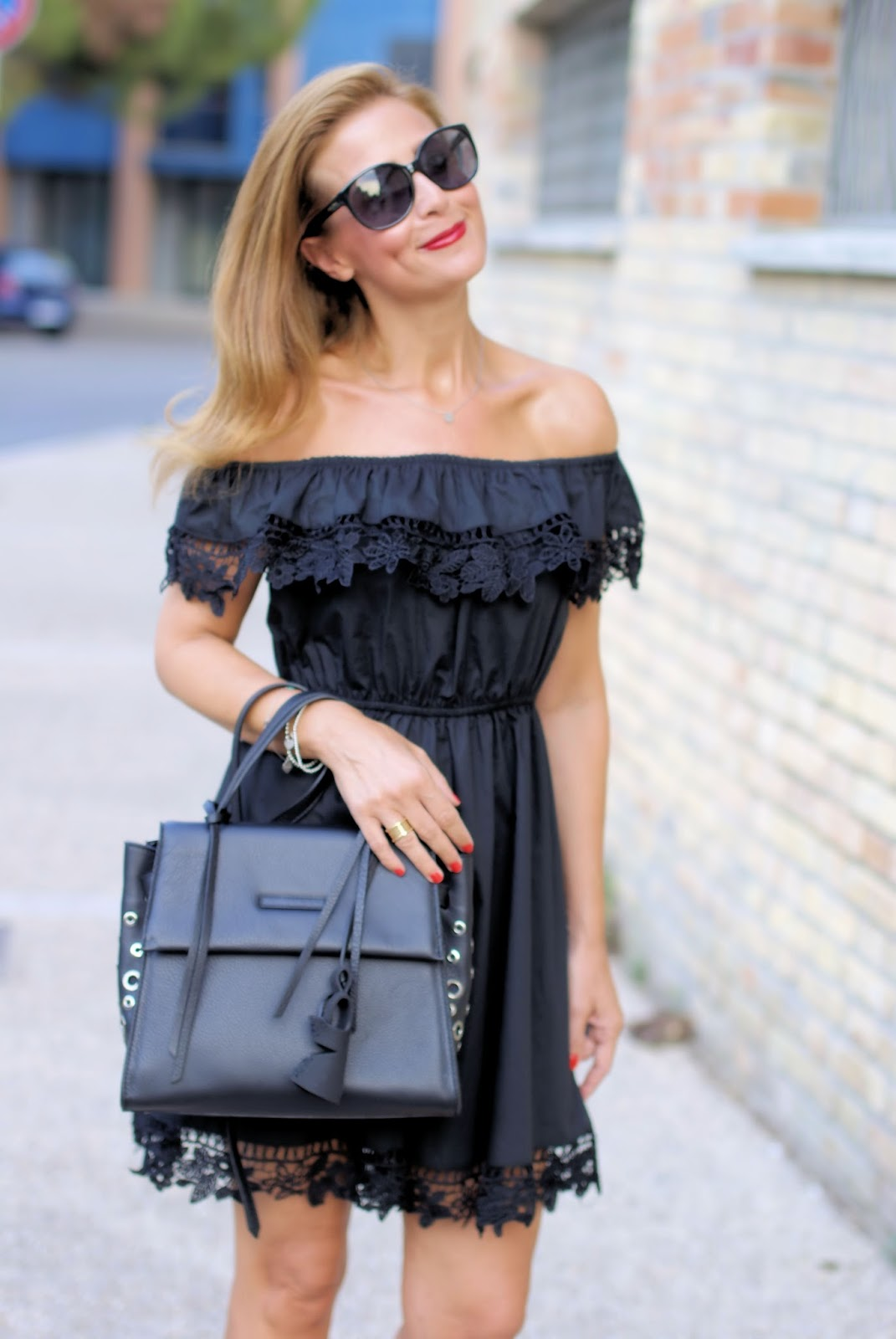 off the shoulder black dress on Fashion and Cookies fashion blog, fashion blogger style