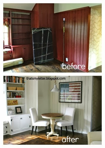 family room corner before and after